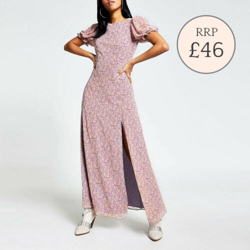 Ex River Island Purple Maxi Dress Waisted Short Sleeve Side Split Size 6-18