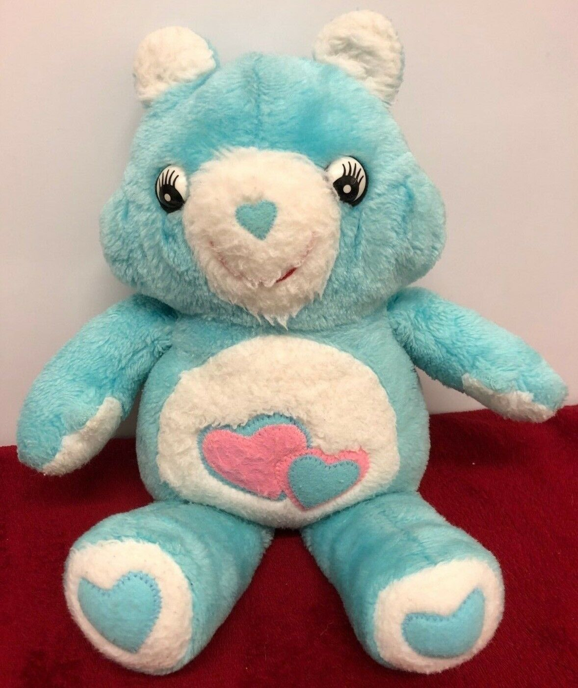 Vintage Rare 40cm bluee White Bear with Hearts Plastic Eyes