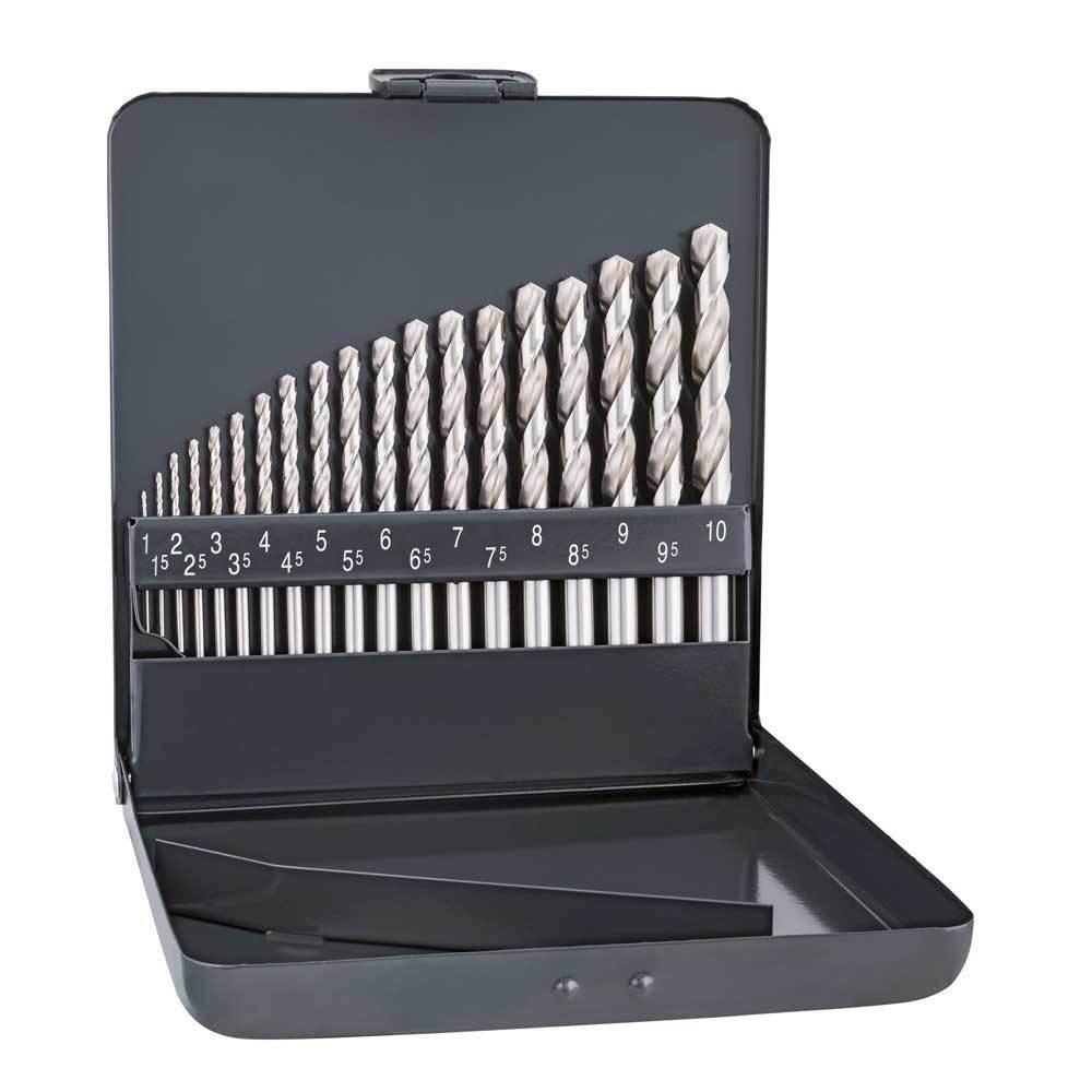 Alpen Tool Drill Bit Stainless Steel HSS Cobalt KM 19 Pc Set 1mm-10mm X 0.5 mm