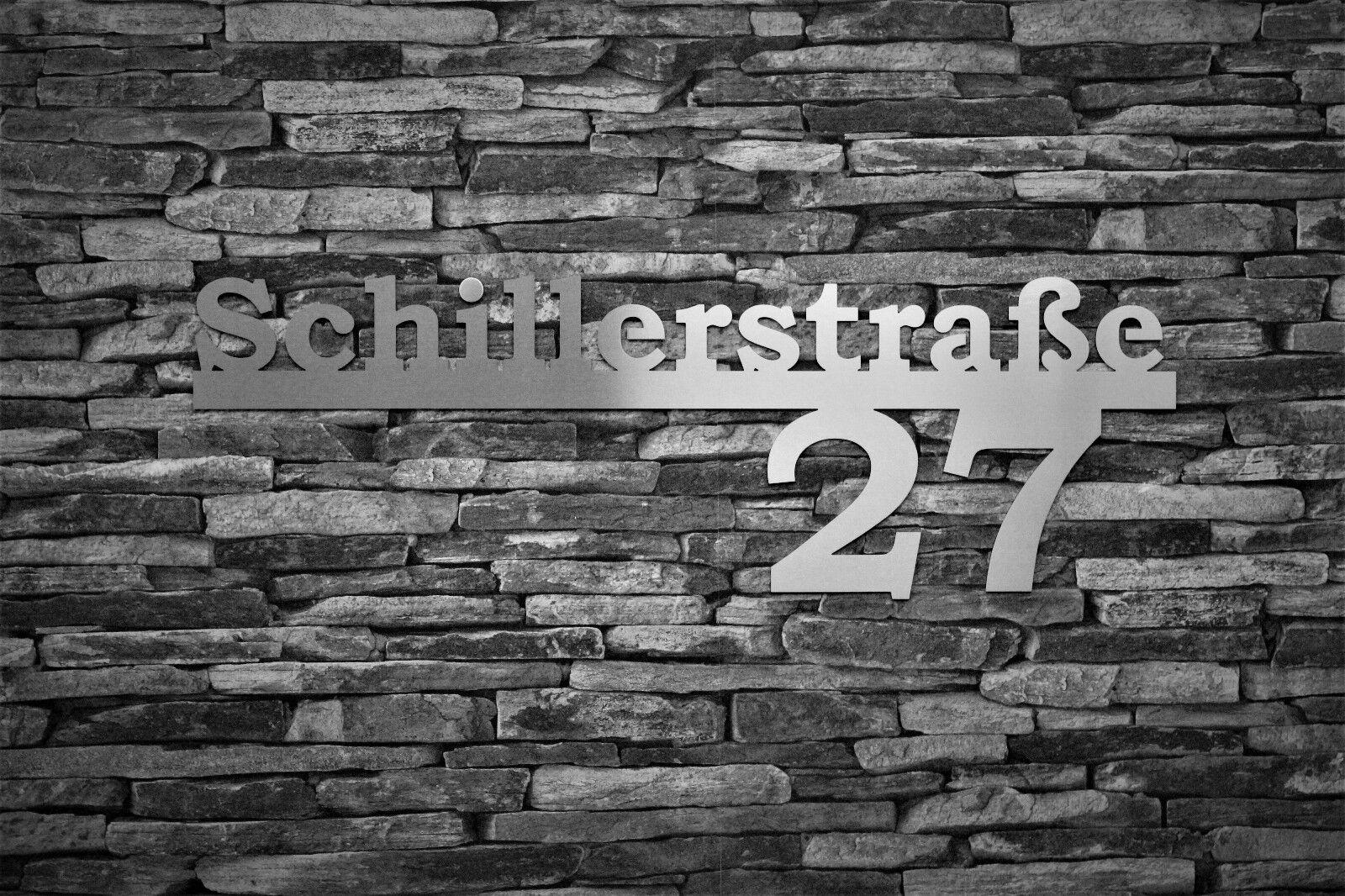 Große Edelstahl Hausnummer mit Schriftzug