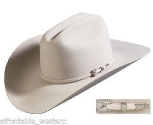 SILVER-BELLY-4X-Beaver-Fur-Felt-HAT-4-034-Brim-Rodeo-King-Cowboy-Western-Strait
