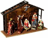 Kurt S. Adler 10 Piece Nativity Set 9 Porcelain Figurines 3.5-5 & Metal Stable
