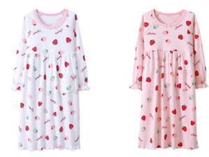 Details about Girls Pyjamas long sleeve Nightwear Kids Children Cotton  Night Dress Nightie 8e044d1d8