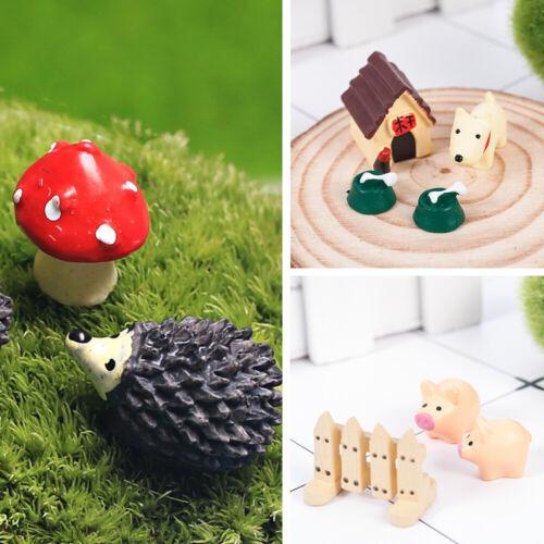 Mini Animal Figurines Miniature Fairy Garden Ornament Set DIY Craft Decor New