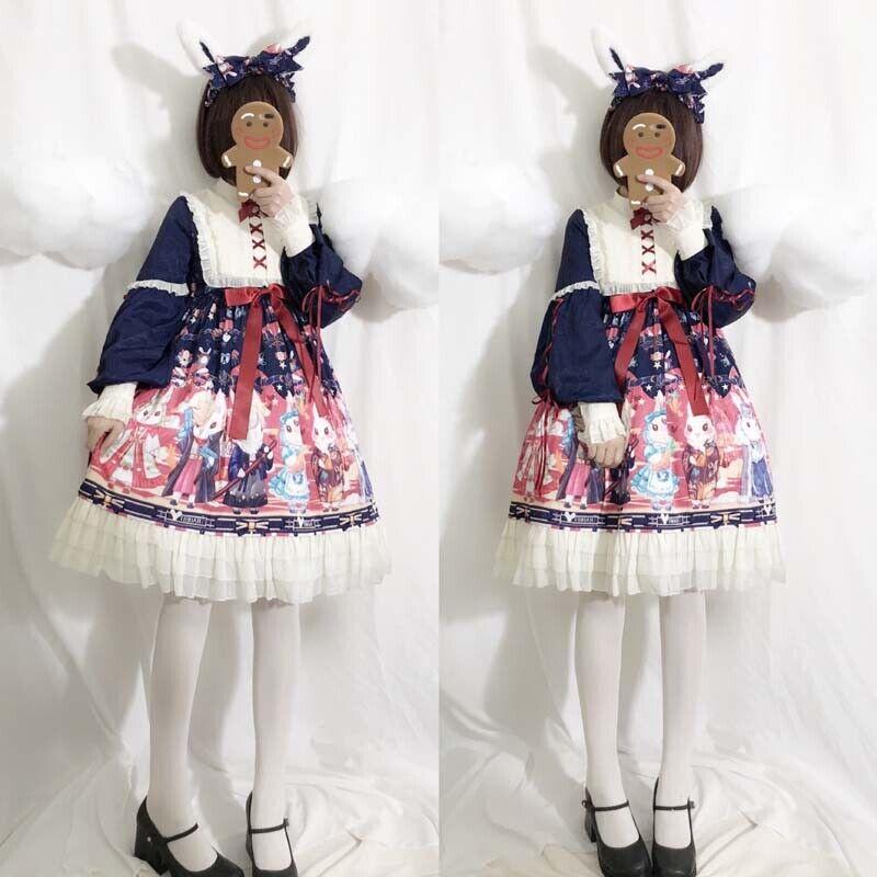 Retro Princess Japanese Lolita Kawaii Rabbit Print Dress Long Sleeve OP Women's