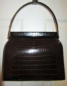 Vintage-Luxury-Designer-MANON-Genuine-Brown-ALLIGATOR-Hand-Bag-Purse-Superb-Cond