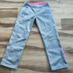Under-Armour-Storm1-Loose-Fit-Pants-Youth-Large-Girls-Fleece-Athletic-Gray-Pink