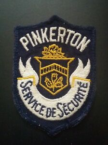 RARE VINTAGE PINKERTON SERVICE OF SECURITE CANADA JACKET PATCH
