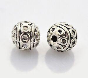 Tibet-Silber-Perlen-Spacer-Metallperlen-8mm-Kugel-15stk-BEST-M88