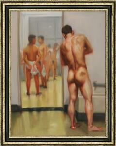 "Hand painted Original Oil Painting art Portrait male nude on canvas 24""x36"""