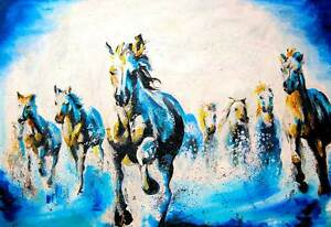 Running-Stallions-Abstract-Poster-Wall-Art-Pictures-Oil-Painting-Re-print