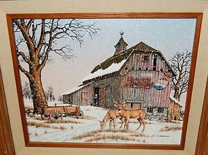 C Carson Pepsi Cola Deer Barn In The Snow Painting Ebay