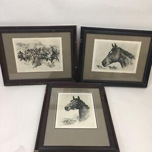 R-H-Palenske-LOT-3-Horse-Prints-Lithographs-Bringing-em-in-Hill-Prince-Assault