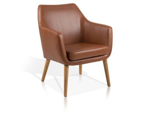 Vintage Polstersessel NAPOLA Kunstleder mit Armlehnen Stuhl Polsterstuhl Cognac