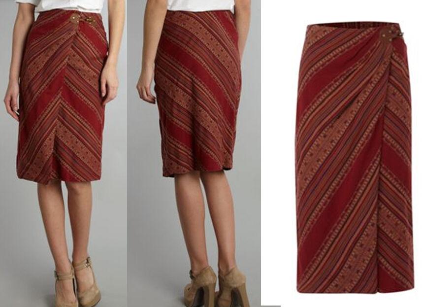139 Ralph Lauren Jamie Cotton Stripe Sarong Wrap Skirt 6