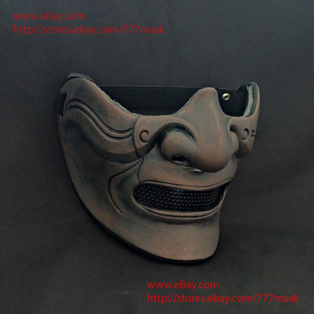 Airsoft Paintball Mask Half Face Tactical Japanese Samurai Kabuto Mempo DJ MA213