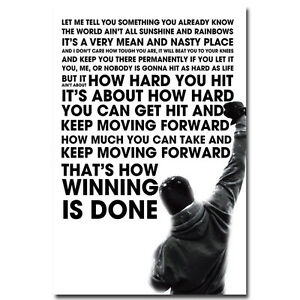 Details About Rocky Balboa Motivational Quote Silk Poster 12x18 24x36 Sylvester Stallone