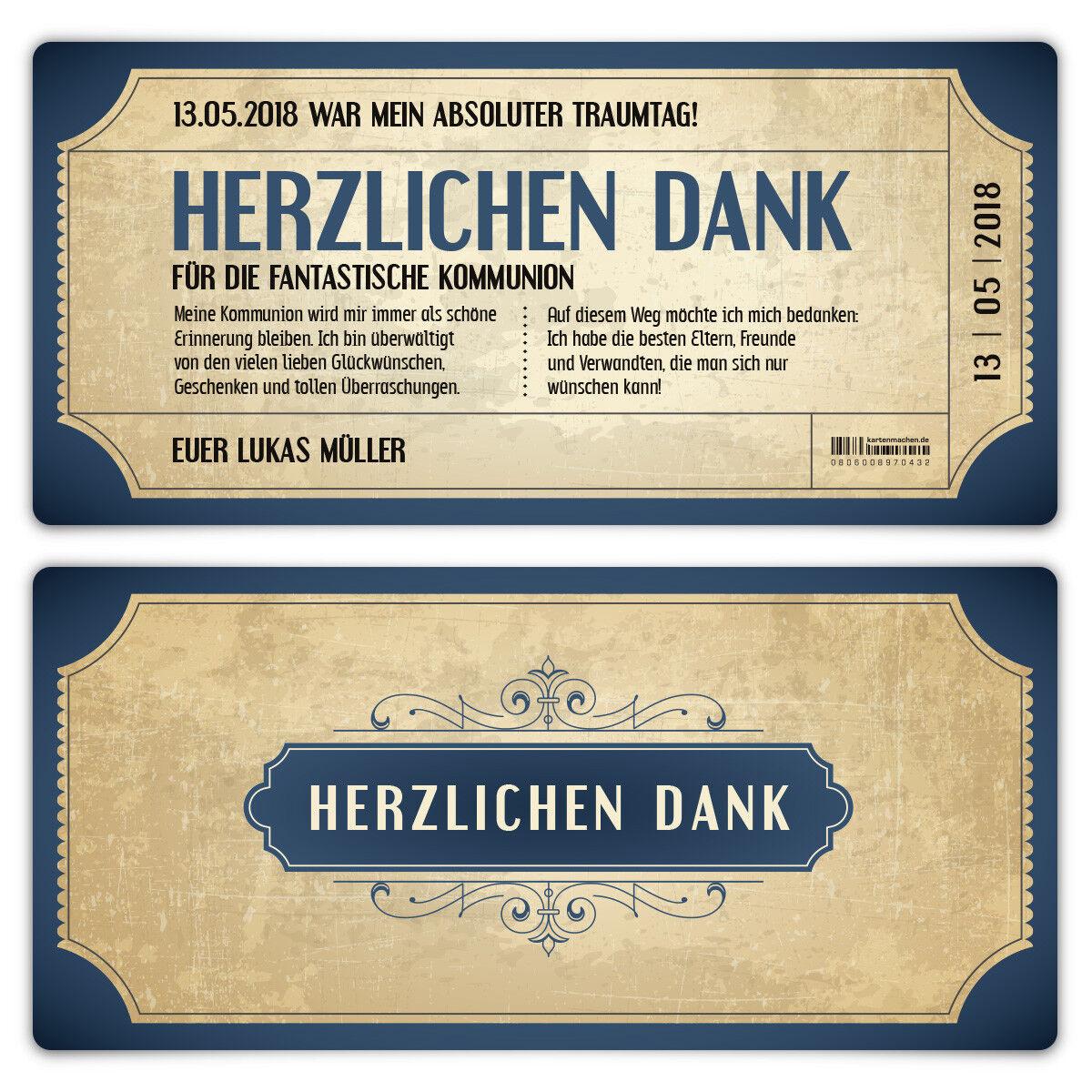 Kommunion Dankeskarten Danksagungskarten Danksagung Vintage Eintrittskarten Blau