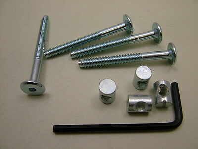Bed cot bolts 4 sets of M6 x 60mm bolt allen key /& 20mm barrel nut= 9 items