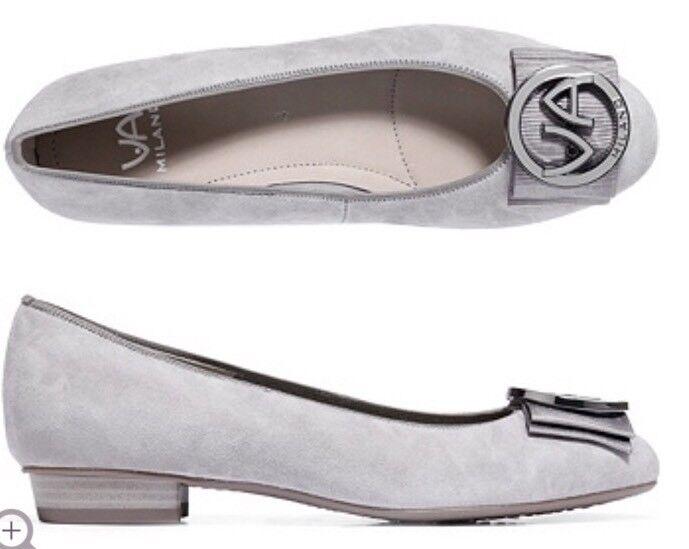 VIA MILANO echt Ballerina Logoschnalle echt MILANO Leder Schleifendetail Gr.6 404c13