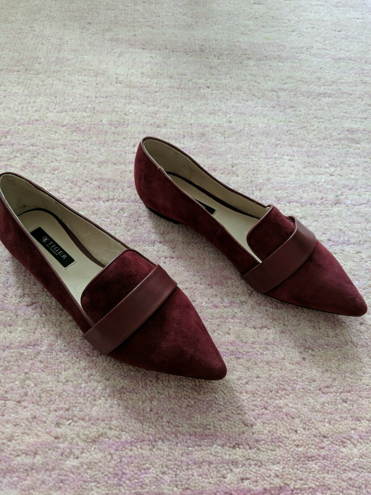 349 Tiger of Sweden Suede Leather Pointed Flats Size 37 Red Burgundy