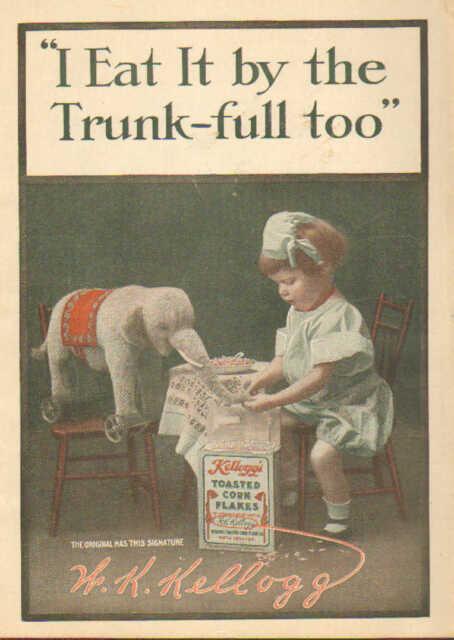 Children, Elephant, Kellogg's Corn Flakes, 1909 Antique, Art, Print Ad. CUTE !