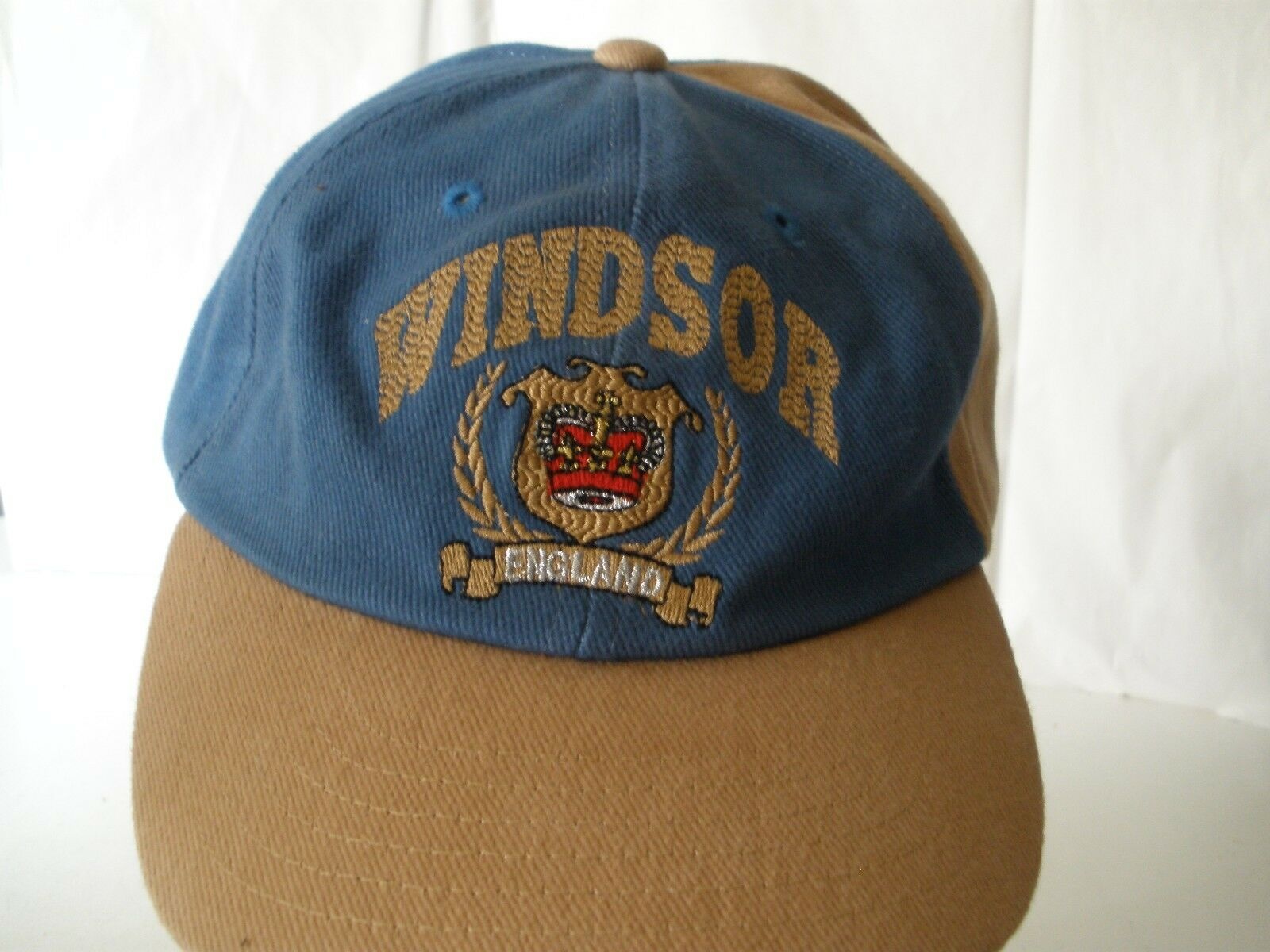 Windsor England Hat Cap Baseball Baseball Baseball Blue Tan db8cc7