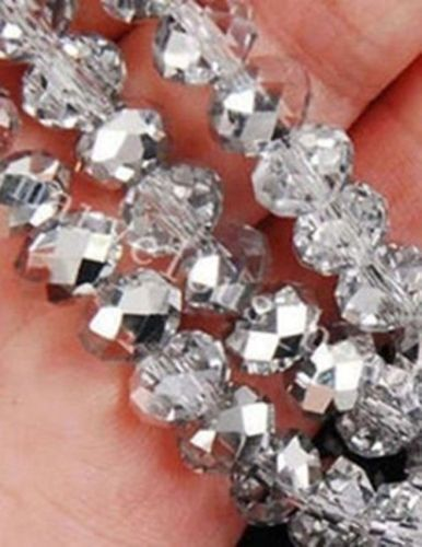 210PCS 6*8MM Wholesale Faceted Crystal Gemstone Loose Beads Silv