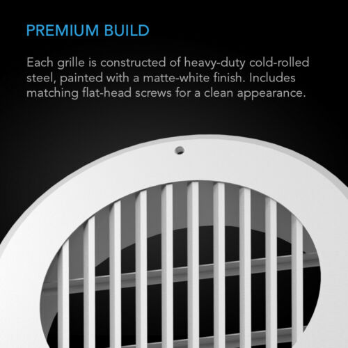 Wall-Mount Duct Grille Vent for Heating Cooling Ventilation 6-Inch White Steel