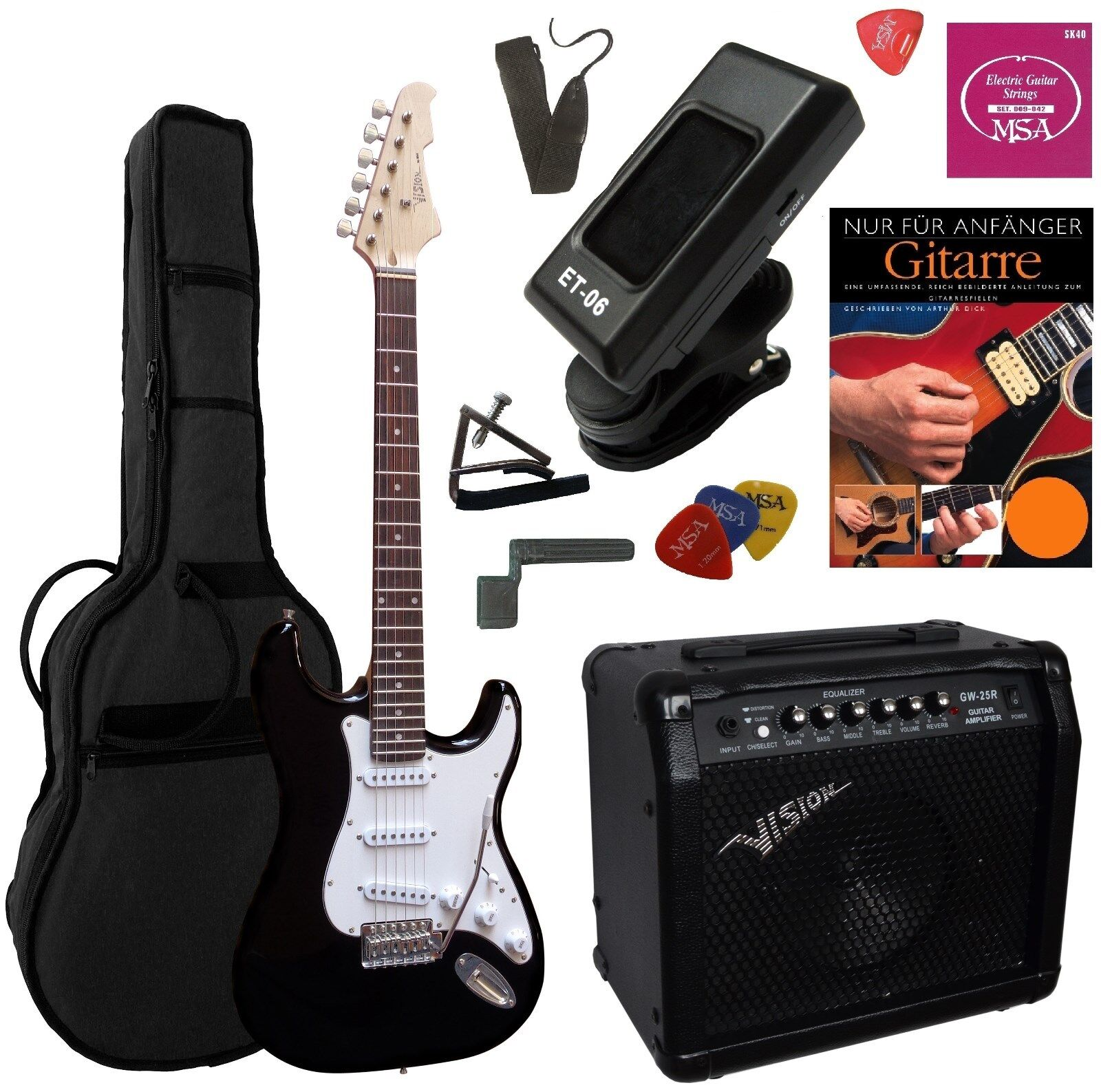 E-guitarra set set set 10-piezas + amplificador 45 vatios + bolsa-Starter Set-voz-gw25r  aquí tiene la última