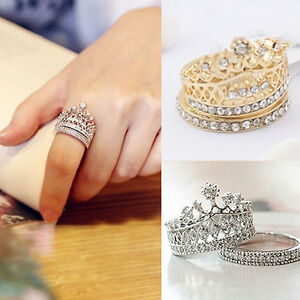 Fashion-Women-039-s-Queen-Crown-Pattern-Ring-Set-Rhinestones-Two-piece-Ring-Natural