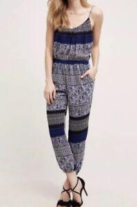 d8f785219e1b Image is loading Anthropologie-Lilka-Darya-Blue-Paisley-Print-Jumpsuit-Size-
