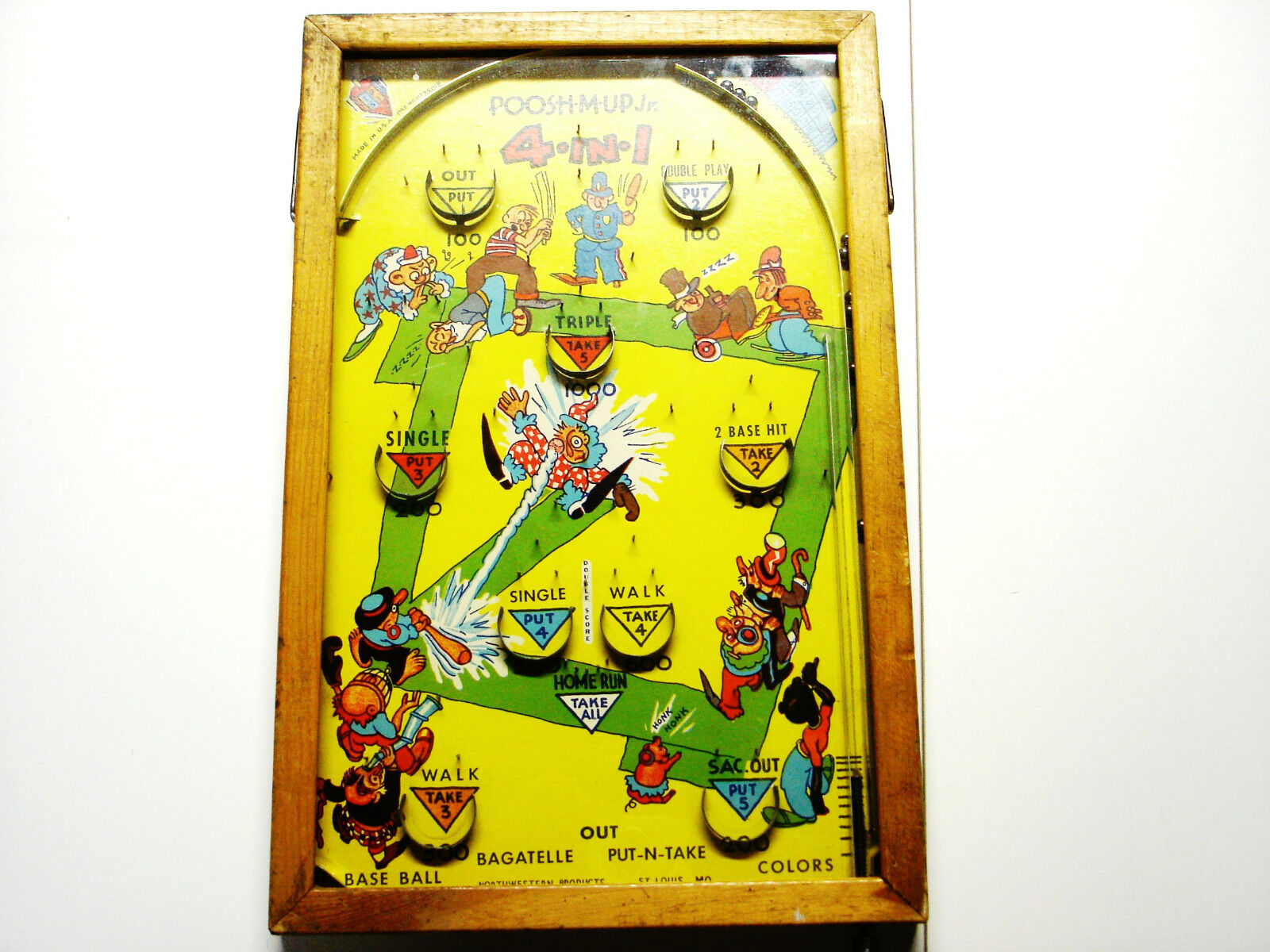 VINTAGE 1930's PUSH M UP Jr. 4 IN 1 PINBALL GAME - Northwestern