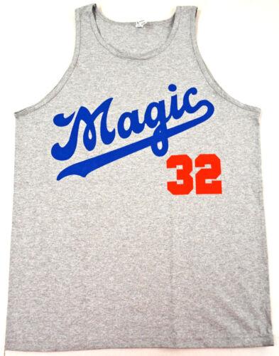 MAGIC 32 DODGERS Tank Top T-shirt LA Lakers Johnson Vest Adult Men Gray New
