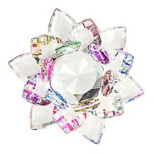 BTSKY 100MM Colorful Rainbow Color Crystal Sparkle Crystal Lotus Flower Ornam...