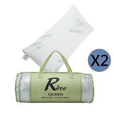 2×Hotel Bamboo Pillow Memory Foam Hypoallergenic Cool Comfort w/Travel Bag Queen