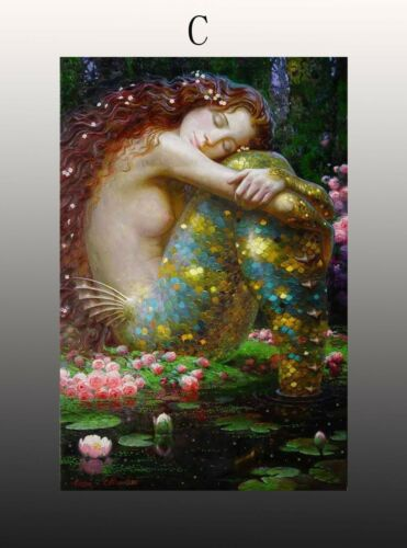 Home Artwork Wall Decor Vintage mermaid Oil painting Picture Printed on canvas