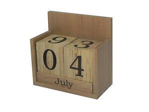 Details About Solid Beech Wood Perpetual Calendar Desk Top Office Eternal Wooden Blocks