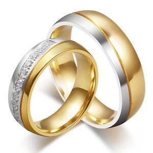 Titanium Steel Couple CZ Ring Men/Women's 18K Gold Plated Wedding Band Size 5-13