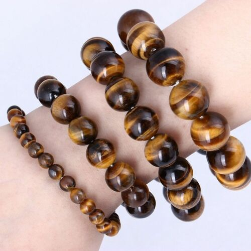 NATURAL TIGER EYE STONE 8 10 12 14 16 18 20 mm perles Hommes Jewelry Bracelet Bangle