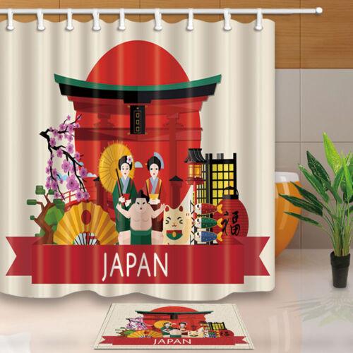 Japanese Culture Kimono Flowers Waterproof Shower Curtain /& Flannel Bathroom Mat