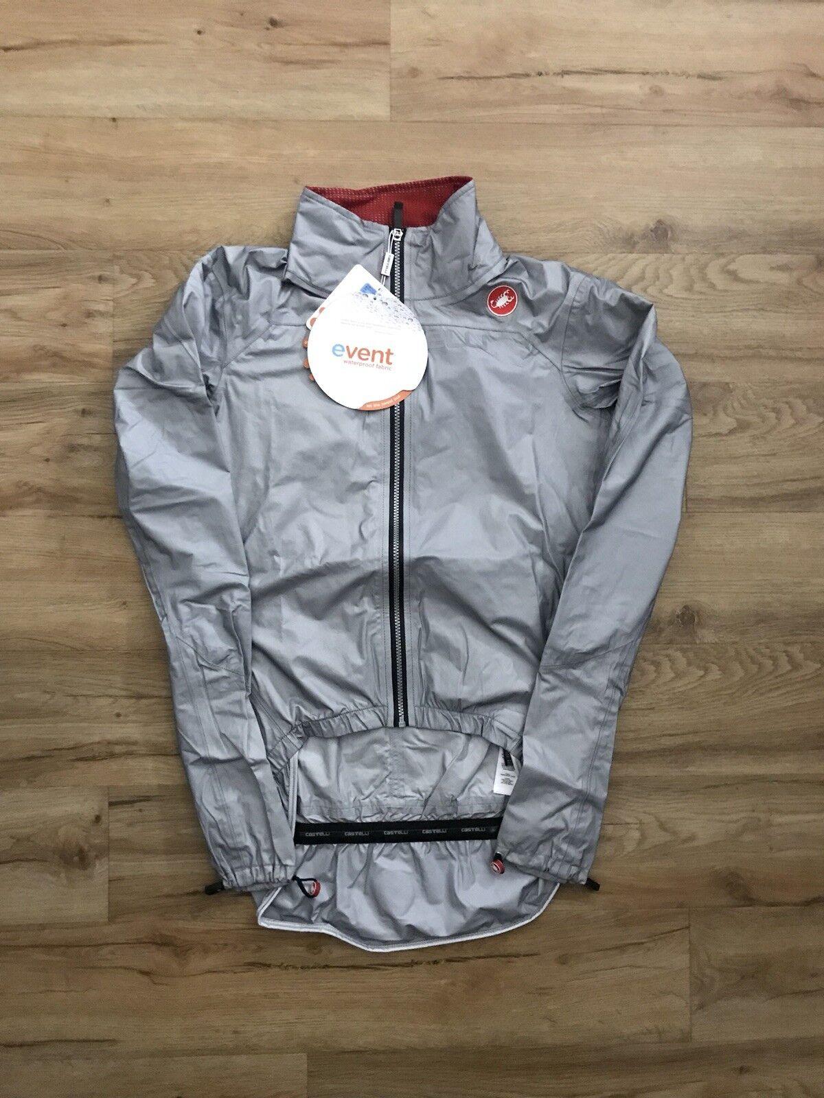 Castelli Tempesta Race Jacket Silber Größe MEDIUM M Silber Cycling Biking Jersey