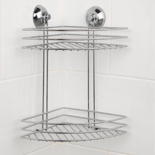 Beldray 2-tier Corner Suction Shower Basket Chrome Bathroom Storage ...