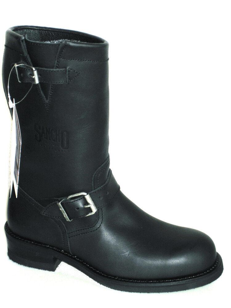 Sancho Boots Stiefel schwarz Echtes Leder für Harley 43  S8