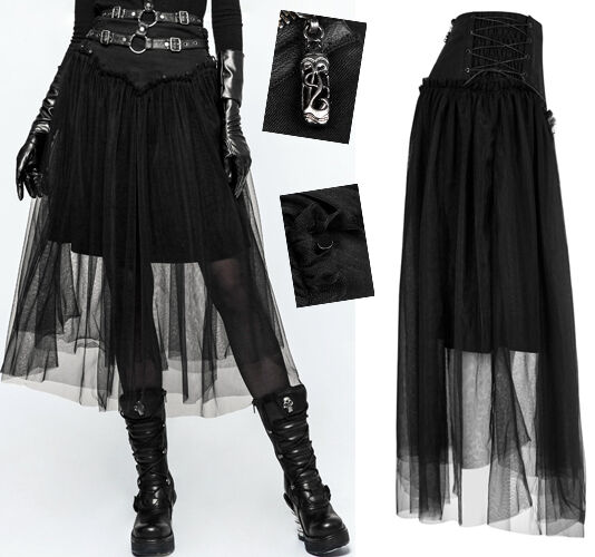Jupe jupon gothique lolita fashion tulle voilage laçages clous volants Punkrave
