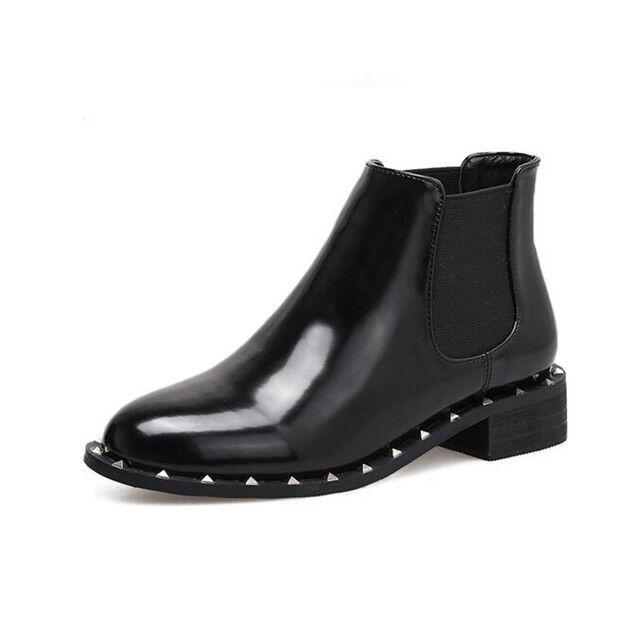 botas stivaletti bassi zapatos anfibi 4 cm negro eleganti pelle sintetica 9432