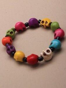 NEW-Coloured-skull-bead-bracelet-halloween-gothic-jewellery-mens-womens