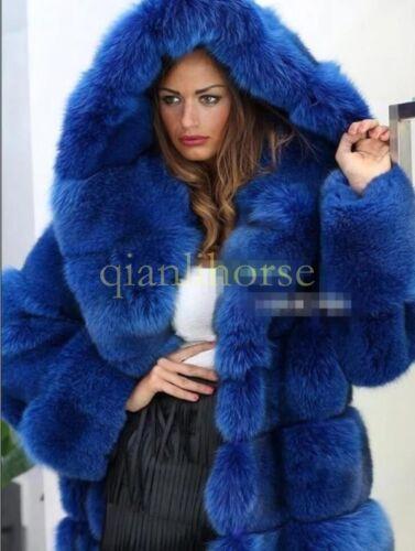 Luxury Mink Fur Collar Hooded Fox Fur Long Thicken Coat Outwear Parka Plus Size
