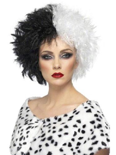 Evil Madame Black White Wig Cruella De Vil 101 Dalmations Disney Villain fnt