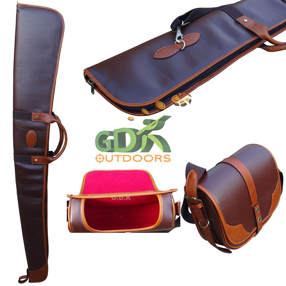 Ex-DisJugar Bronceada Y Bolsa De Cochetucho De Cuero marrón oscuro, bolsa, Escopeta, Rifle, Pistola